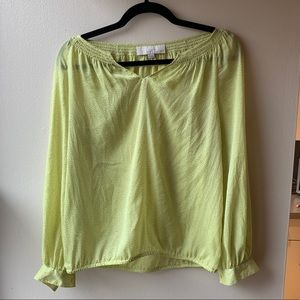 LOFT Sheer Yellow Long-Sleeved Dotted Blouse